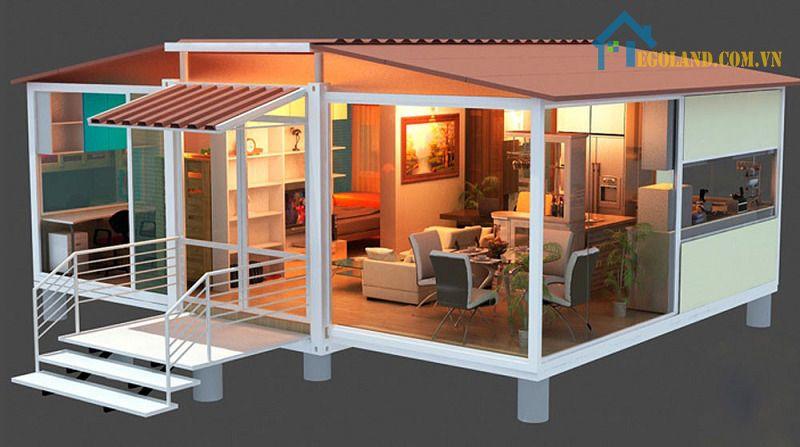 Mẫu nhà khung thép 1 tầng đơn giản cho nhà dưới 4 người