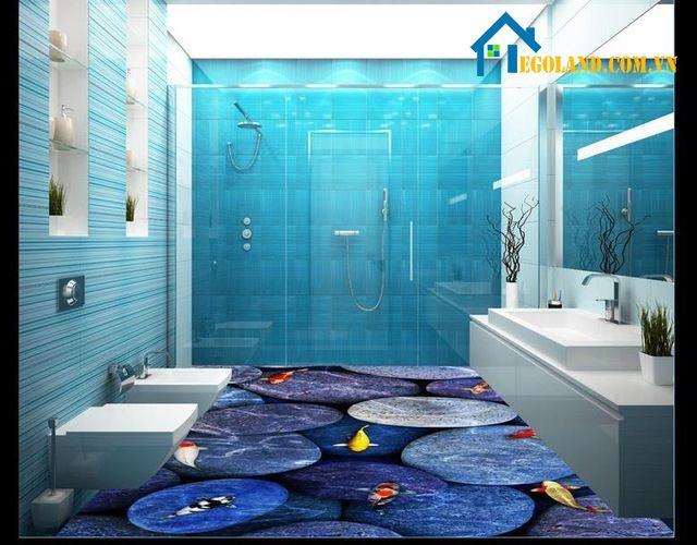 Mẫu nhà tắm này cũng rất độc đáo, thiết kế đẹp mắt cho phòng tắm