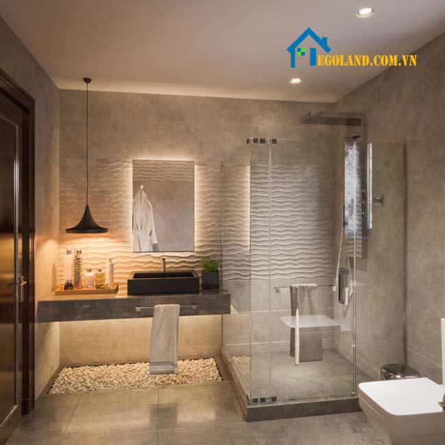 Mẫu nhà tắm và nhà vệ sinh được thiết kế chung một không gian