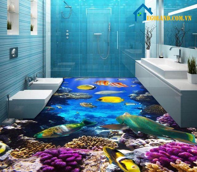 Mẫu phòng tắm 3D với các sinh vật dưới biển