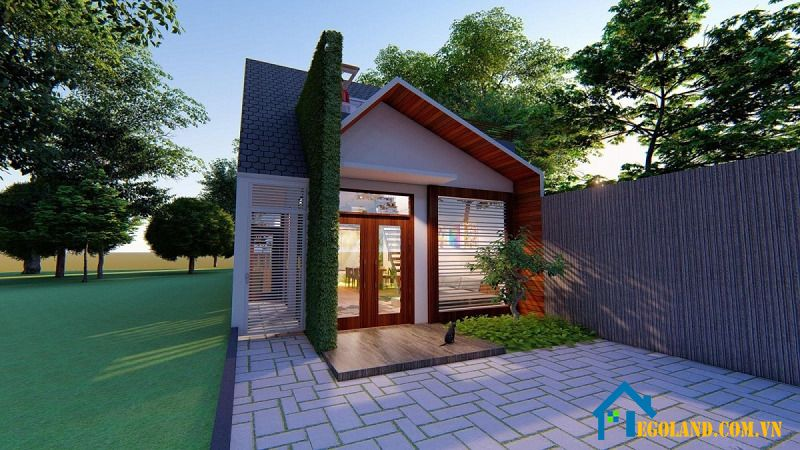 Nhà cấp 4 mái dốc được thiết kế với một phòng bếp, một phòng khách và một phòng ngủ kết hợp với khoảng sân phơi trước nhà