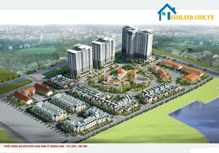 Phối cảnh tổng thể dự án xây dựng nhà ở xã hội Trung Văn