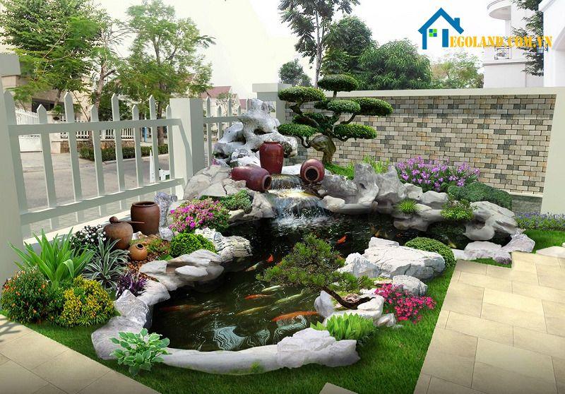Sân vườn đẹp tự làm dạng thẳng đứng tạo nên mảng tường trang trí bằng chậu cây độc đáo