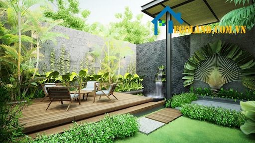 Thiết kế khu vườn với cây cối bao quanh ấn tượng