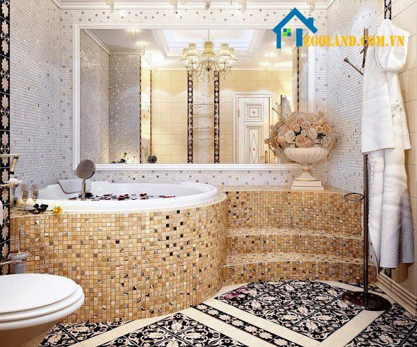 Thiết kế này phù hợp với những căn biệt thự to và sang trọng. Từ kiểu dáng đến màu sắc của nền gạch đều toát lên sự cao cấp của ngôi nhà.