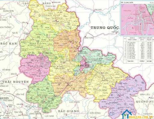 Bản đồ Lạng Sơn về địa lý