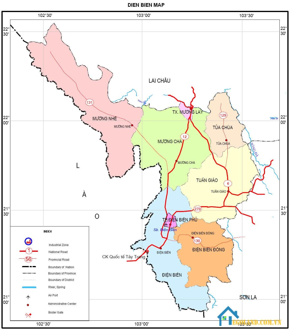 Bản đồ Điện Biên về địa lý
