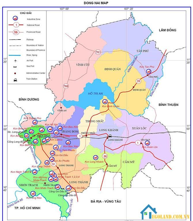 Bản đồ Đồng Nai về địa lý