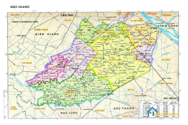 Bản đồ Hậu Giang về địa lý