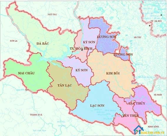 Bản đồ Hòa Bình về địa lý