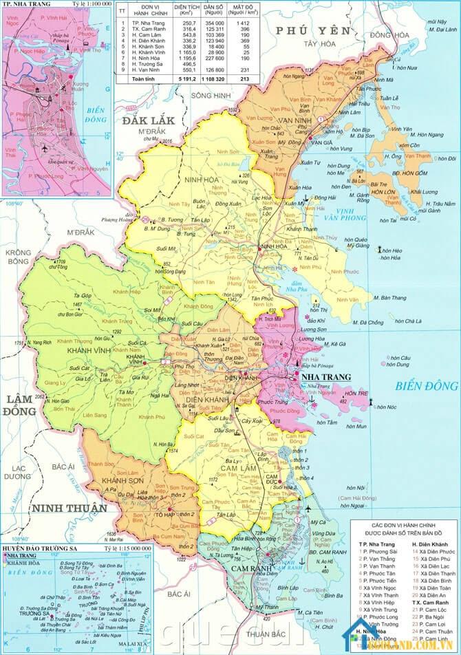 Bản đồ Khánh Hòa về địa lý