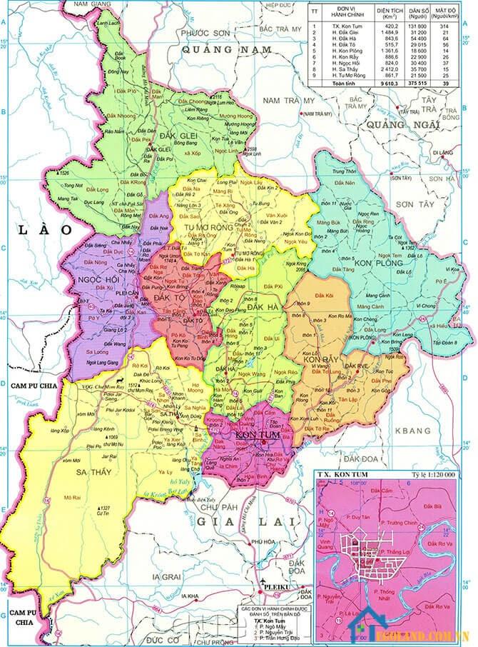 bản đồ Kon Tum về địa lý
