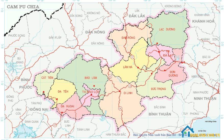 Bản đồ Lâm Đồng về địa lý