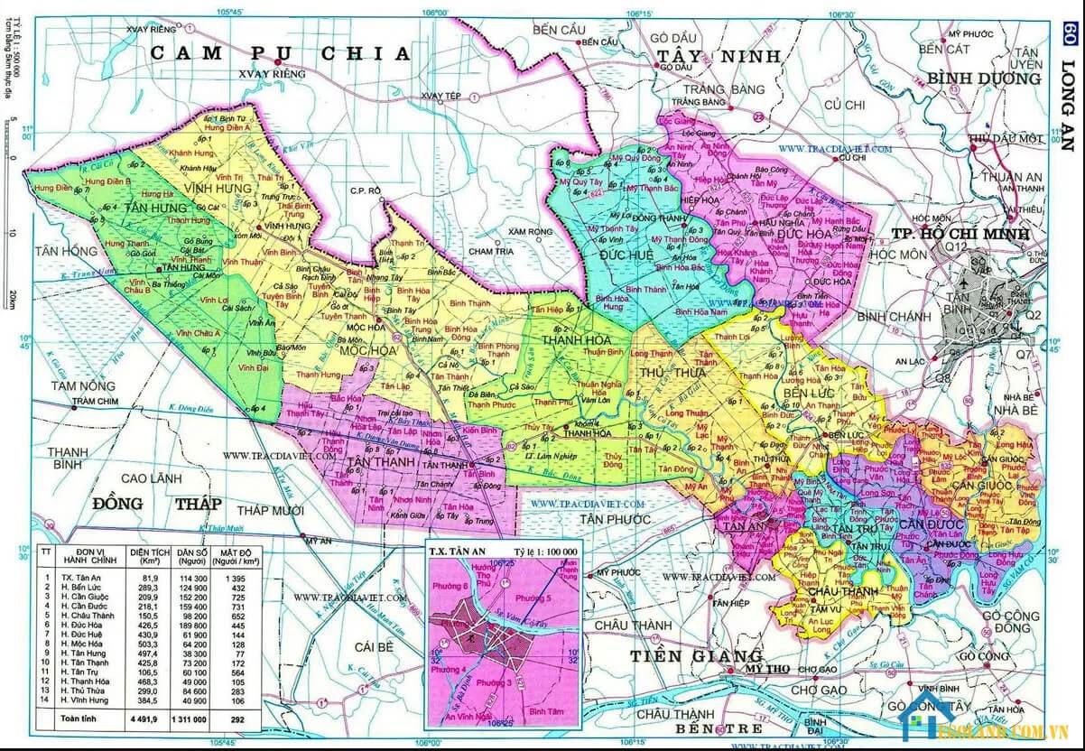 Bản đồ Long An về địa lý