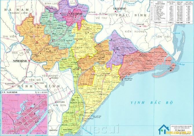 Bản đồ Nam Định về địa lý