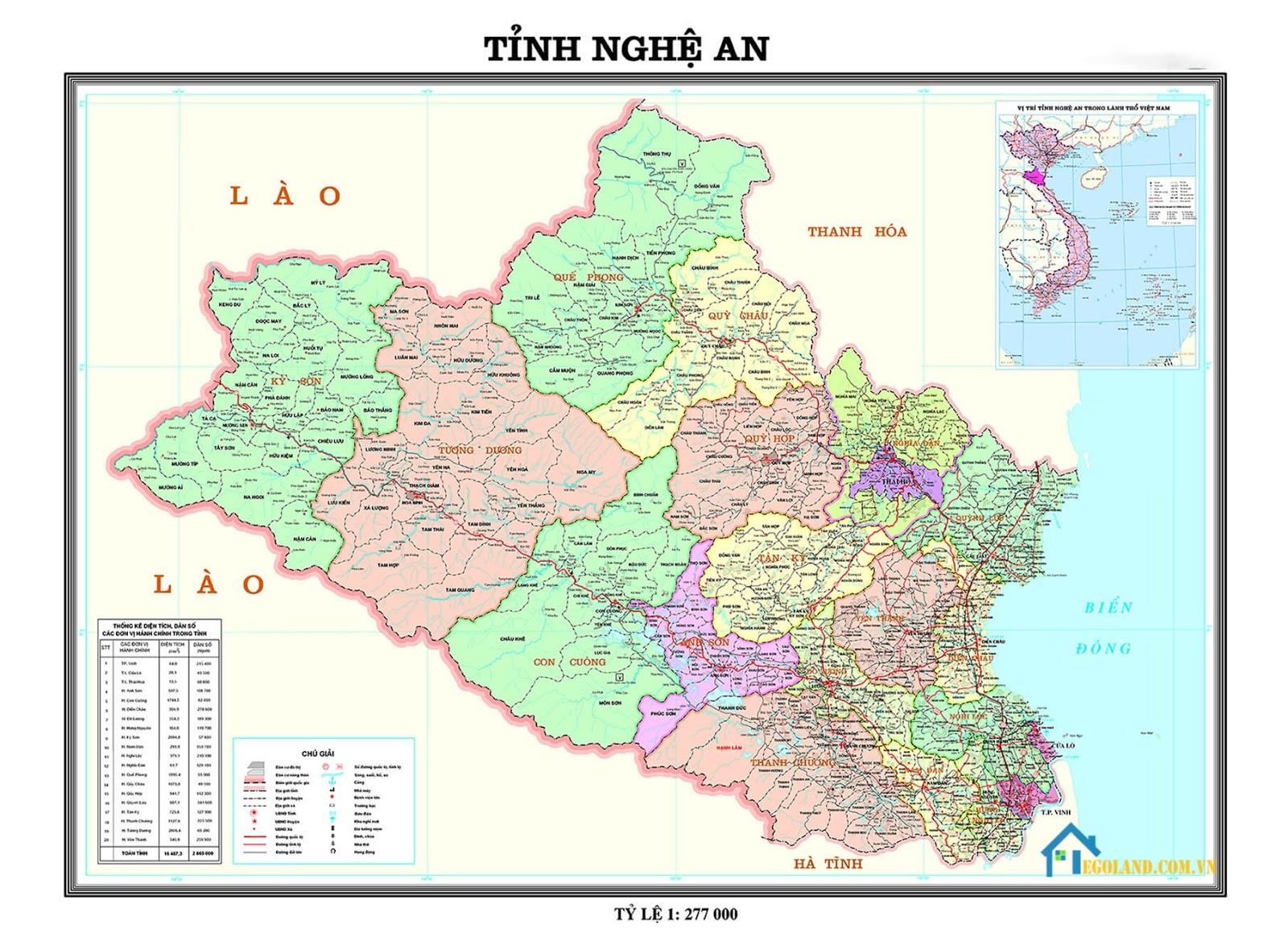 Bản đồ Nghệ An về địa lý