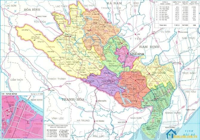 Bản đồ Ninh Bình về địa lý