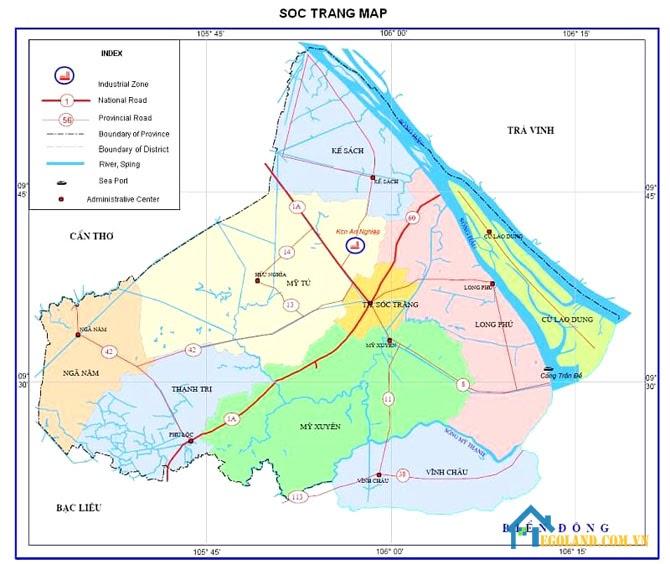 Bản đồ Sóc Trăng về địa lý