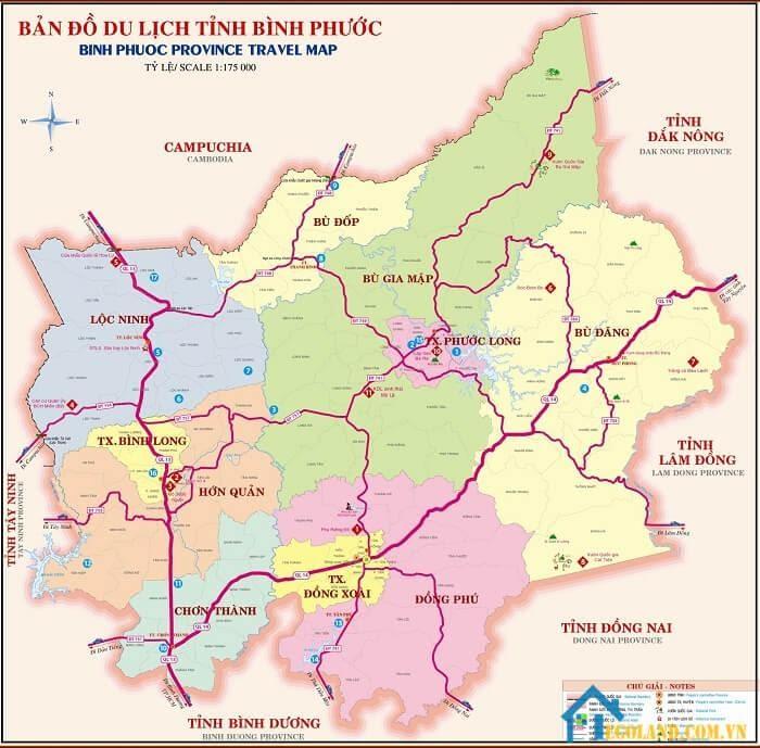 Bản đồ Bình Phước về du lịch
