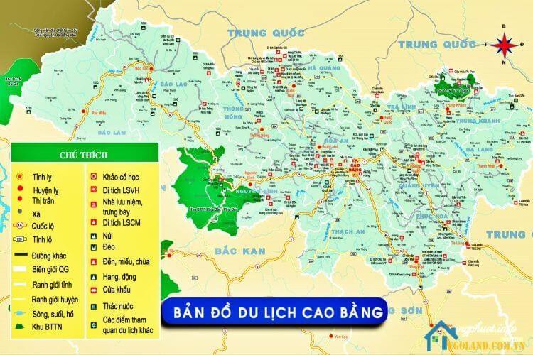 Bản đồ Cao Bằng về du lịch