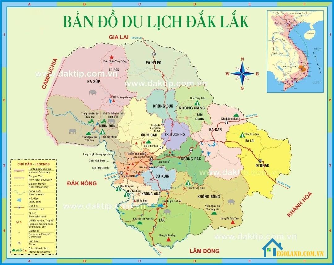 Bản đồ Đắk Lắk về du lịch