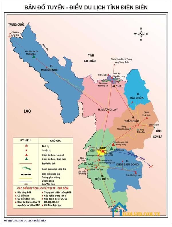 Bản đồ Điện Biên về du lịch