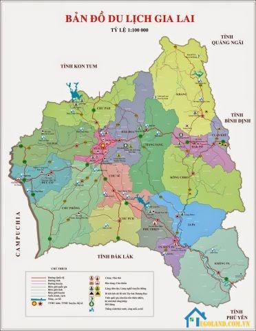 Bản đồ Gia Lai về du lịch