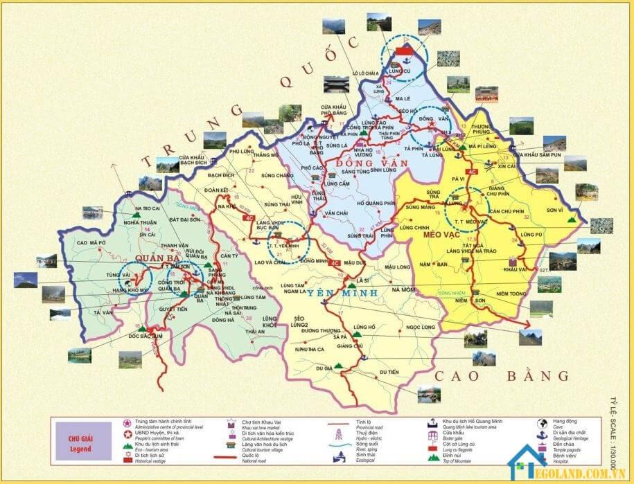 Bản đồ Hà Giang về du lịch