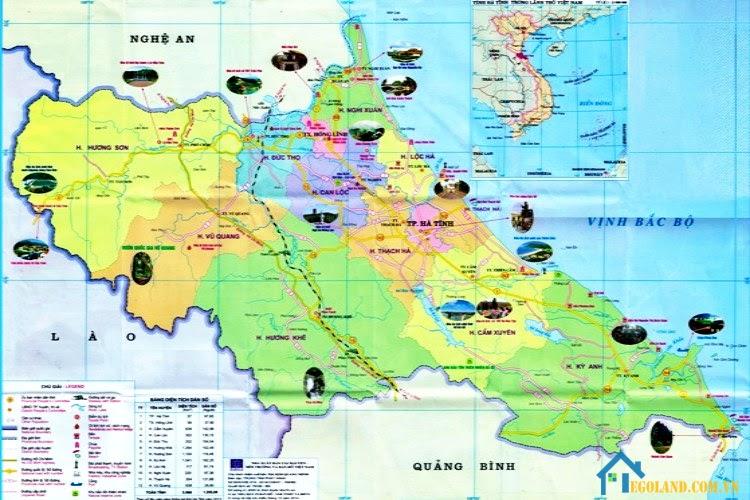 Bản đồ Hà Tĩnh khổ lớn về du lịch