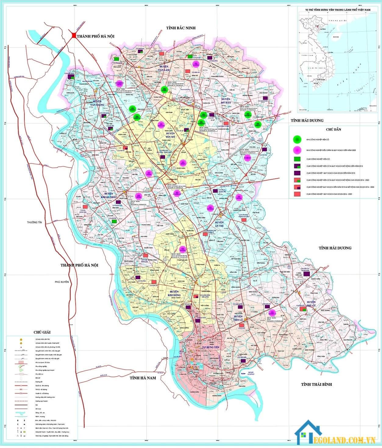 Bản đồ Hưng Yên về du lịch