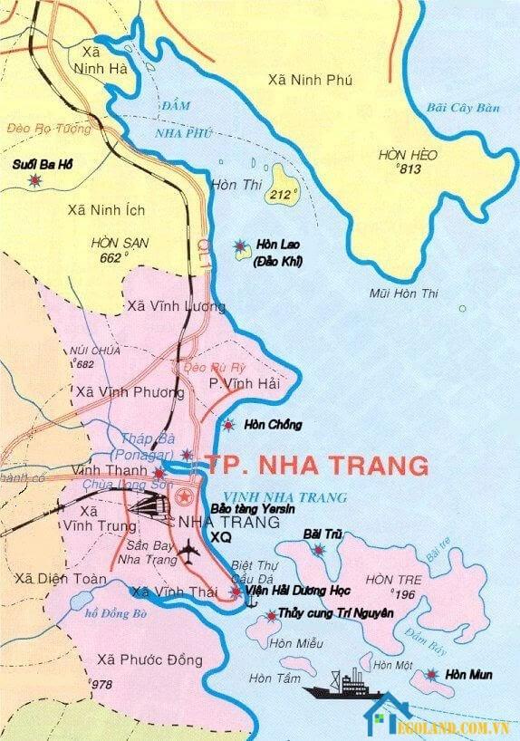 Bản đồ Khánh Hòa về du lịch mới nhất 2021