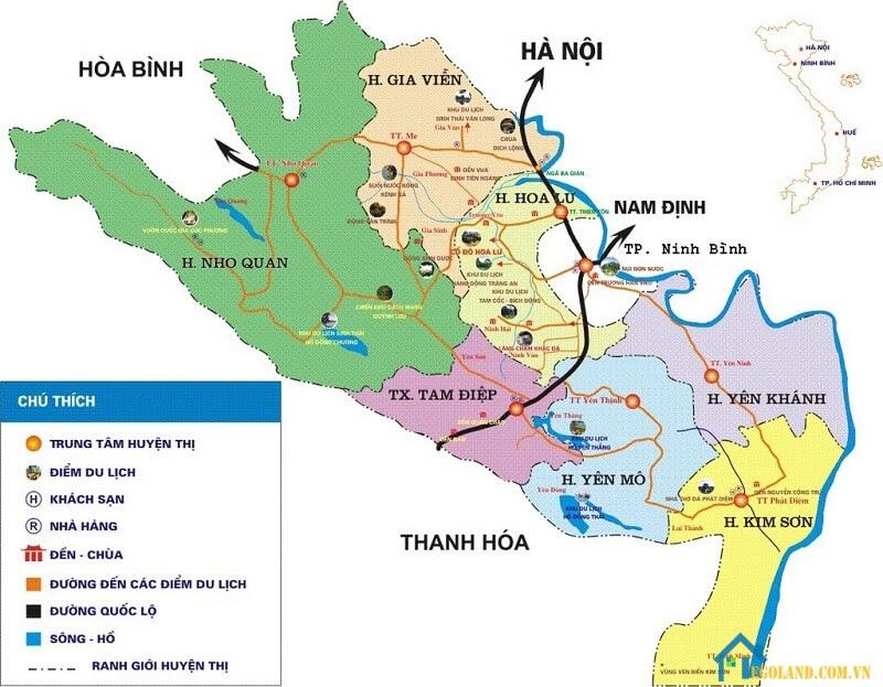Bản đồ Ninh Bình về du lịch