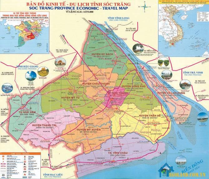 Bản đồ Sóc Trăng về du lịch