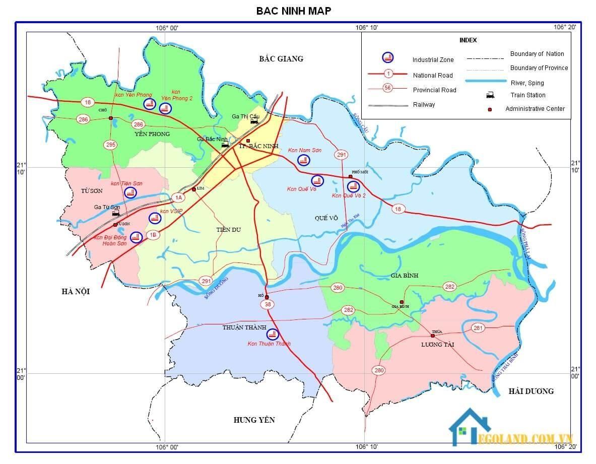 Bản đồ Bắc Ninh về giao thông