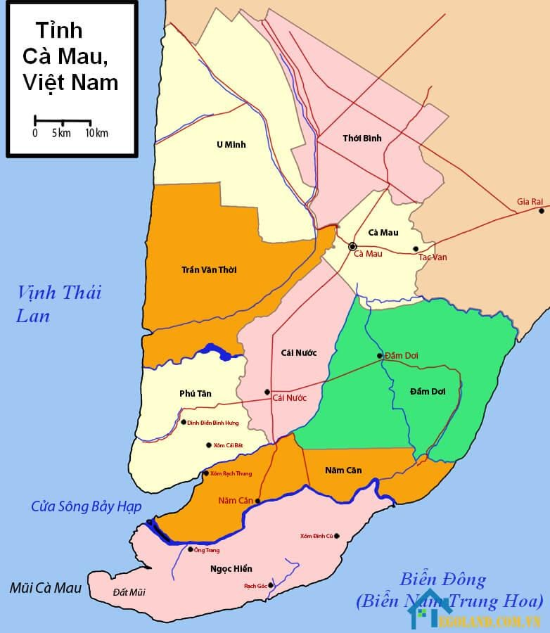 Bản đồ Cà Mau về giao thông