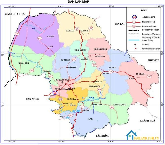 Bản đồ Đắk Lắk về giao thông