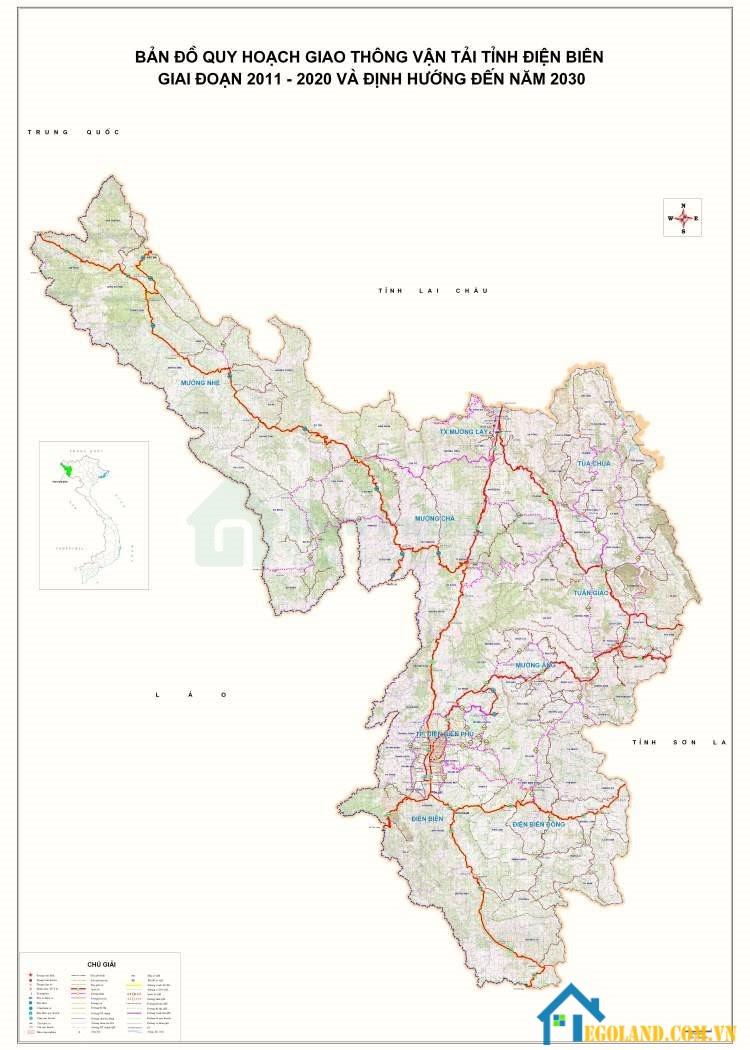 Bản đồ Điện Biên về giao thông