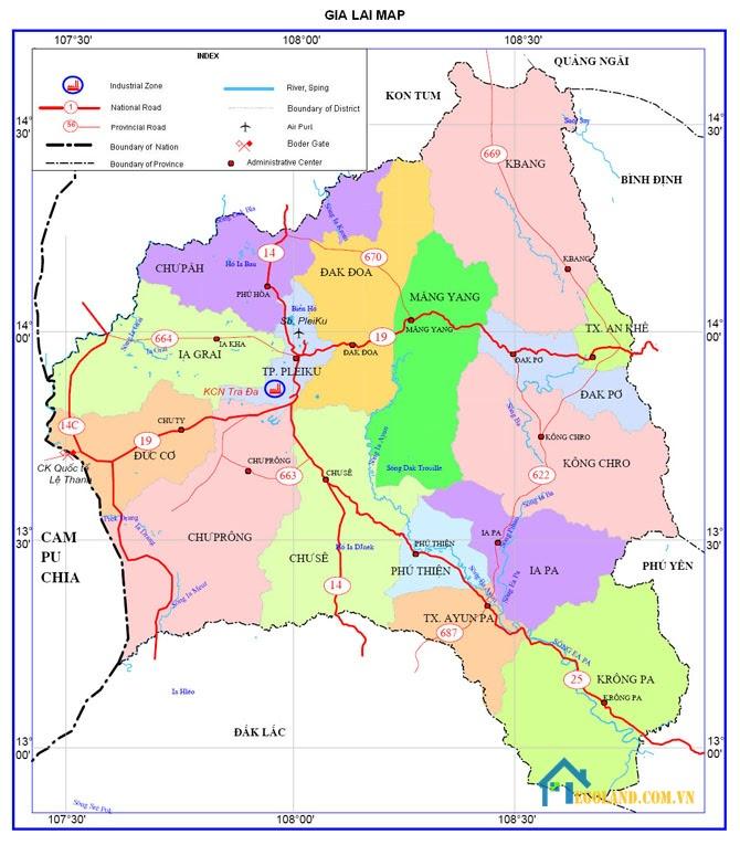 Bản đồ Gia Lai về giao thông