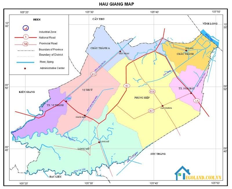 Bản đồ Hậu Giang về giao thông
