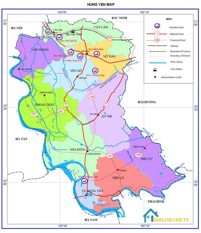 Bản đồ Hưng Yên về giao thông