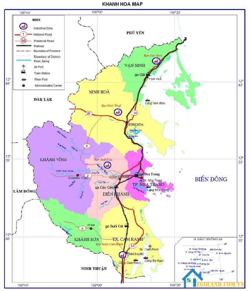Bản đồ Khánh Hòa về giao thông mới nhất 2021
