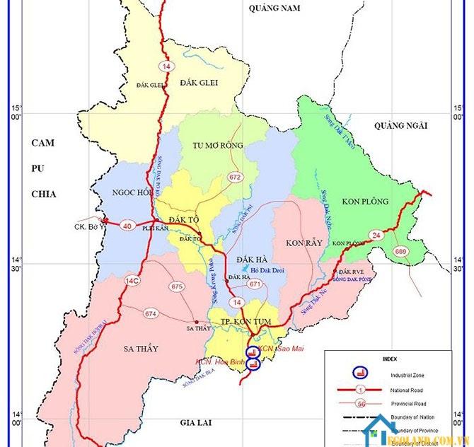 Bản đồ Kon Tum về giao thông