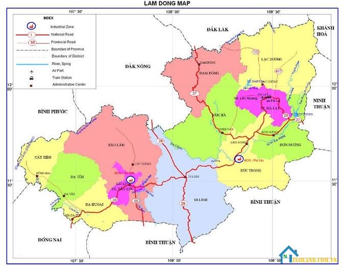 Bản đồ Lâm Đồng về giao thông