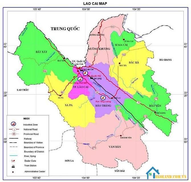 Bản đồ Lào Cai về giao thông