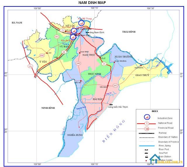Bản đồ Nam Định về giao thông