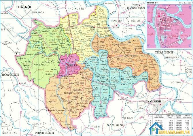 Bản đồ Hà Nam khổ lớn