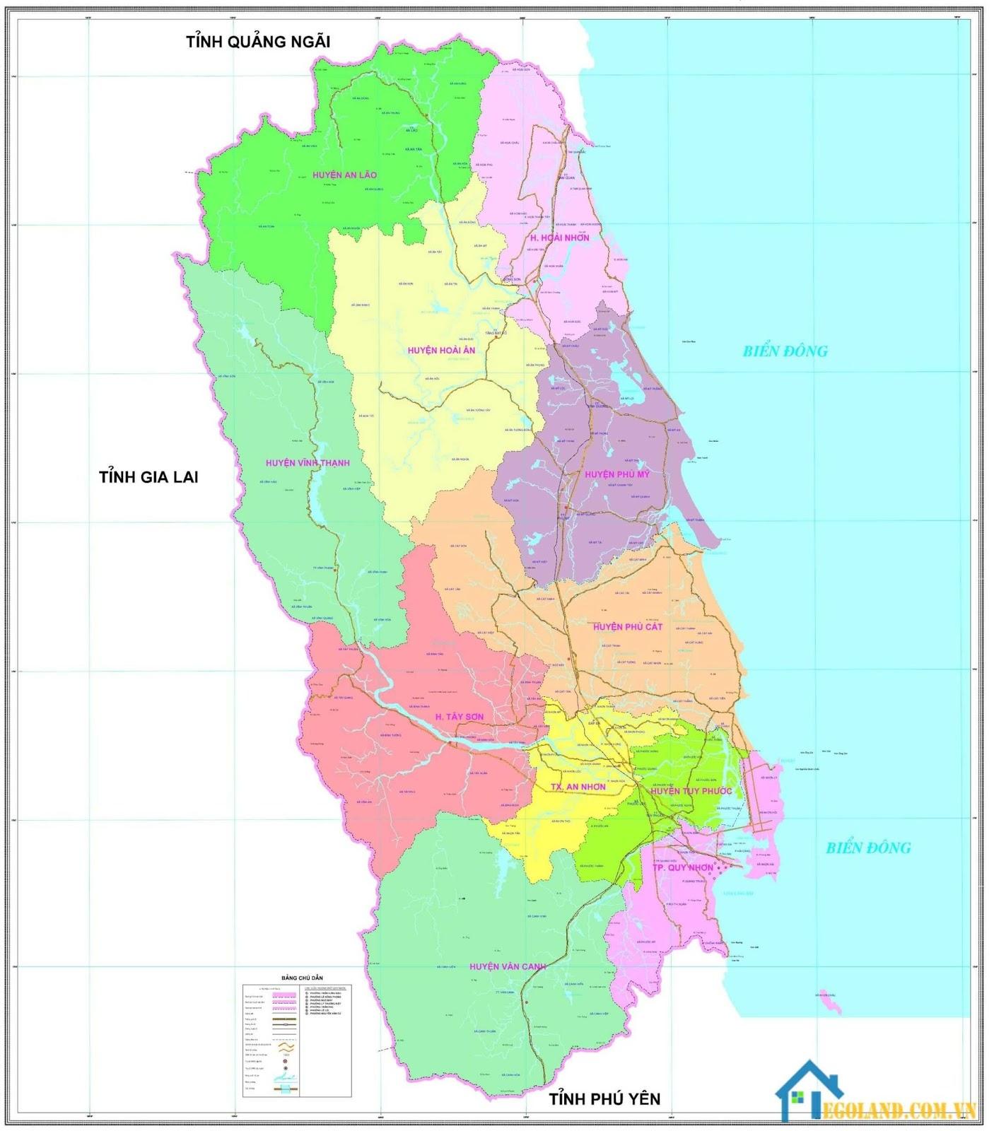 Bản đồ Bình Định về hành chính