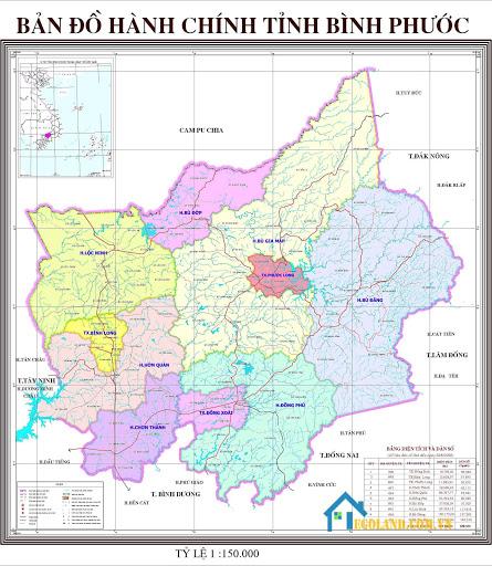 Bản đồ Bình Phước về hành chính