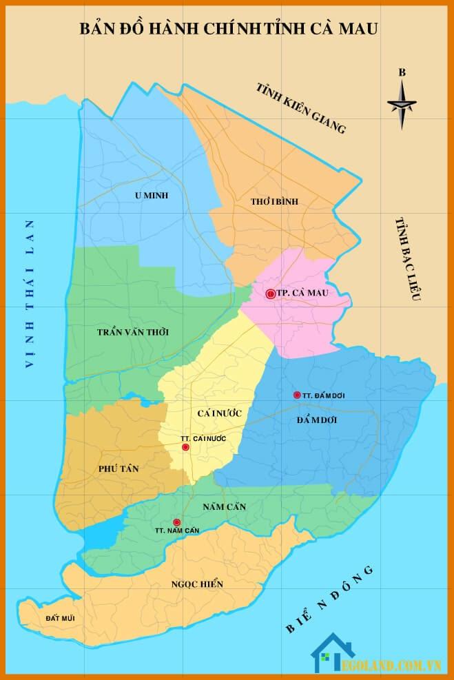 Bản đồ Cà Mau về hành chính