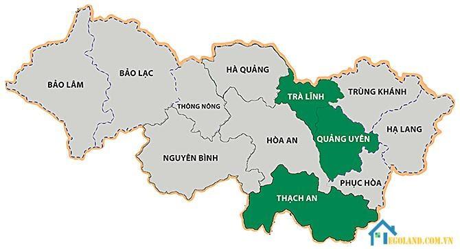 Bản đồ Cao Bằng về hành chính
